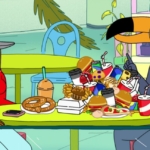Still featuring Tuca and Bertie talking in a mall food court with snacks piled between them.