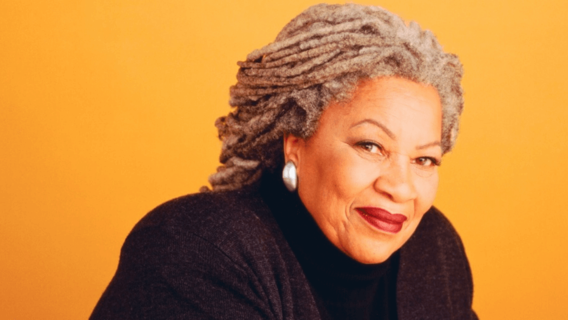 Pulitzer Prize Award winning author Toni Morrison - a black, gray-haired woman - is smiling against a yellow background.