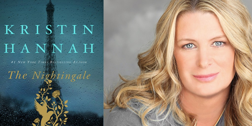 "The cover of the book ""The Nightingale"" on the left, and an up-close image of the author - a white, blonde woman - on the right."