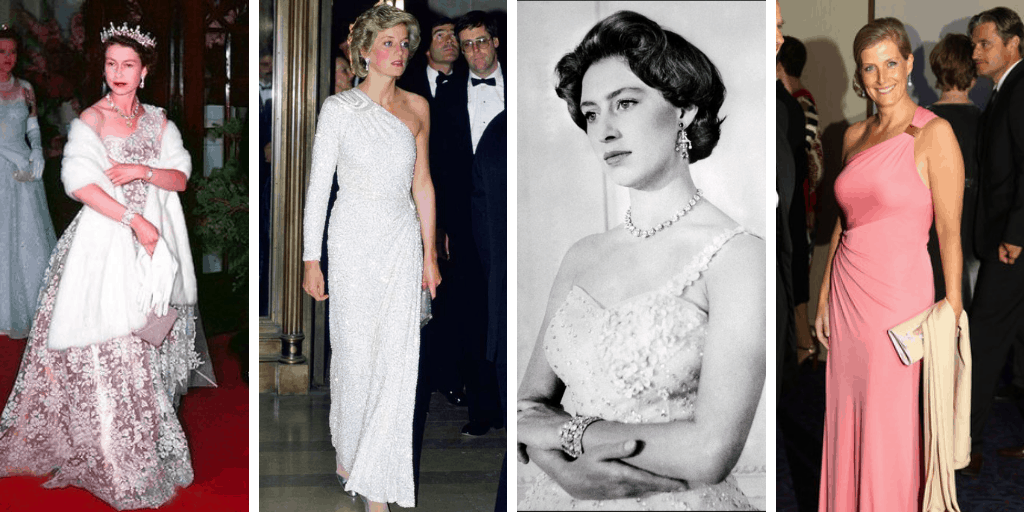 Four images of British royal women in one-shoulder ensembles. From left to right: Queen Elizabeth, a white woman, wearing a silver tiara, a white wrap, and a one-shoulder gown; Diana, Princess of Wales, a white woman with short blonde hair in a white one-shoulder gown; a black and white portrait of Princess Margaret, a white woman with dark hair in a one-shoulder gown; Sophie, Countess of Wessex, a white woman with blonde hair smiling at the camera in a pink one-shoulder gown.