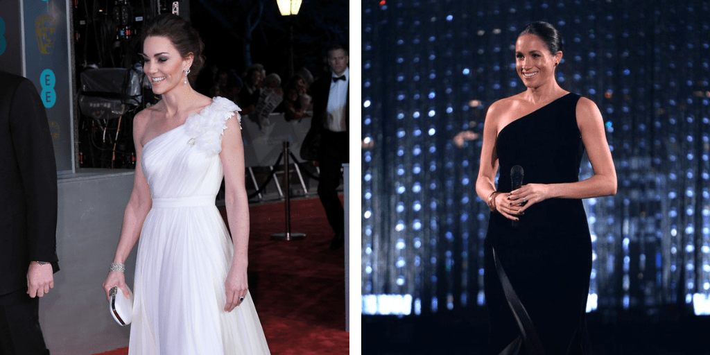 Two images side by side. The image on the left is of the Duchess of Cambridge, a white, brown-haired lady in a white one-shoulder dress on a red carpet. The image on the right is the Duchess of Sussex. a darker-skinned woman with black hair tied back and in a black one-shoulder gown on a stage.
