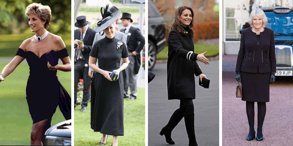 Four images of British royal woman in black ensembles. From left to right: Princess Diana, a white woman with short blonde hair, is wearing a black cocktail dress with a pearl choker necklace; Sophie, Countess of Wessex, a white woman with blonde hair, is wearing a black midi dress with a large black fascinator; Catherine, Duchess of Cambridge, a white woman with brown hair, is wearing a black coat, tights, and boots; Camilla, Duchess of Cornwall, a white woman with silvery hair, is wearing a black suit jacket and skirt.