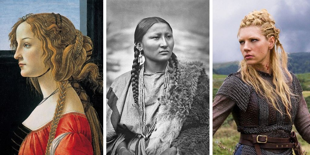 Three depictions of braids through history. Right image is a Medieval European painting of a woman in a red dress with hair adorned with accessories and braids. The middle image is black and white and features a Native American woman with her hair in two braids. The third image is the character 'Lagertha' from the History Channel TV Show, 'Vikings'. Lagertha has her blonde hair in braids and wears leather armor.