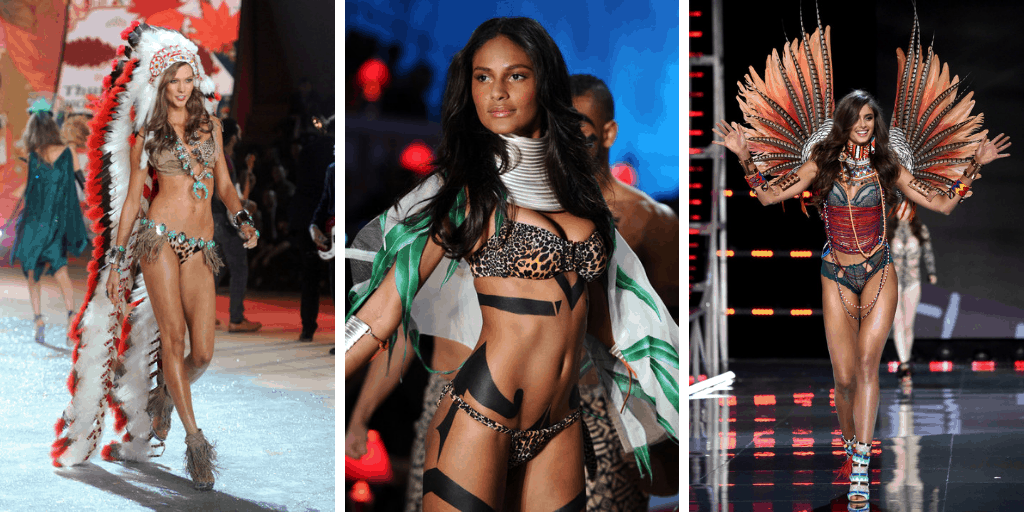 Three images of three models. From left to right: a white model wearing traditional Native American headdress and lingerie, a black model wearing animal print lingerie and black body art, a white model in tribal patterns and accessories including beads, feathers and prints.