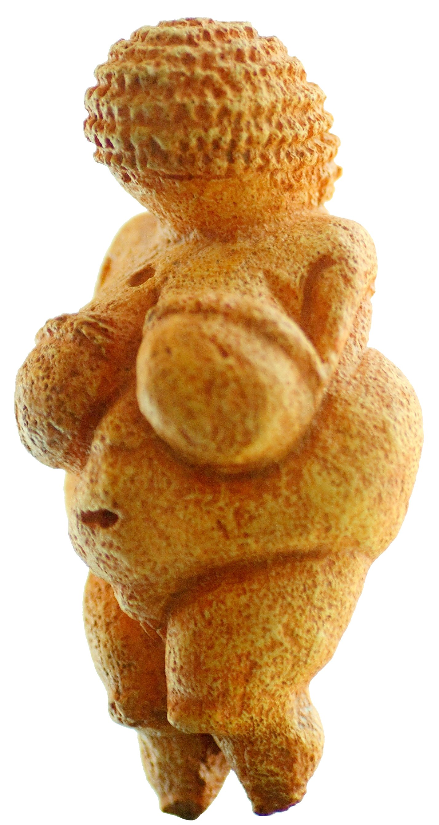 A sand-colored faceless statue with a large, exaggerated bust. The head features wavy engravings, believed to be braids.