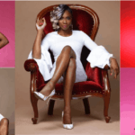 [image description: a collage of 5 pictures of Myoa, top left: Myoa in a pink dress, bottom left: Myoa wearing a white dress while sitting on the arm of a maroon velvet armchair with a white guitar on it, top right: Myoa wearing a red dress against a red background, bottom right: Myoa wearing a blue dress against a pink background, Middle: Myoa wearing a white dress and heels seated on a maroon velvet armchair] via LAFAMOS and Myoamusic on Instagram