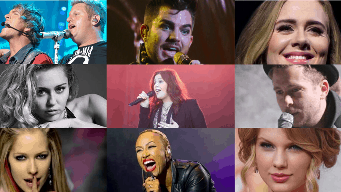 [Image description: A collage of the nine music artists listed below. They're a mix of men and women.] Via Wikimedia Commons