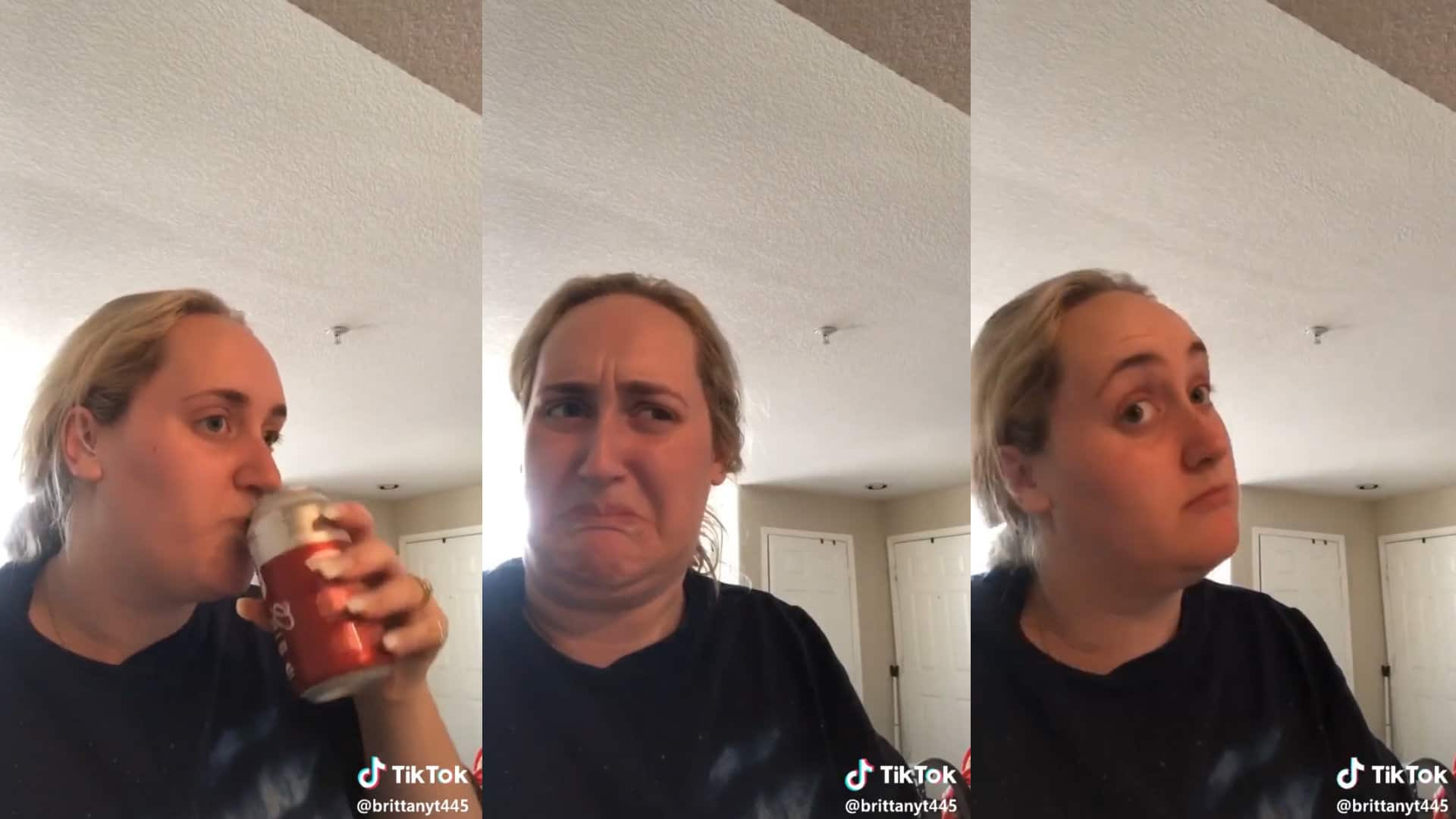 3 separate images depicting a white girl with blonde hair drinking kombucha. In the first image, she tries the drink. In the second she looks disgusted, and in the third she looks pleasantly surprised.