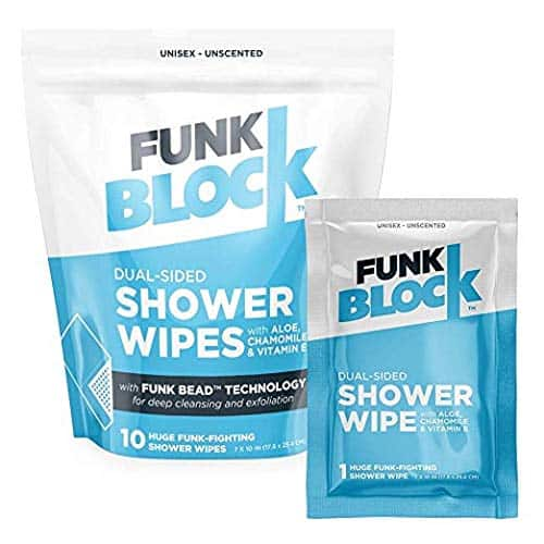 Two blue-and-white packets of Fun Block shower wipes.