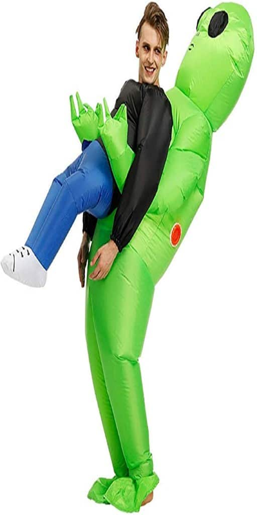 An inflatable green alien costume with an inflatable person attached to its hands.