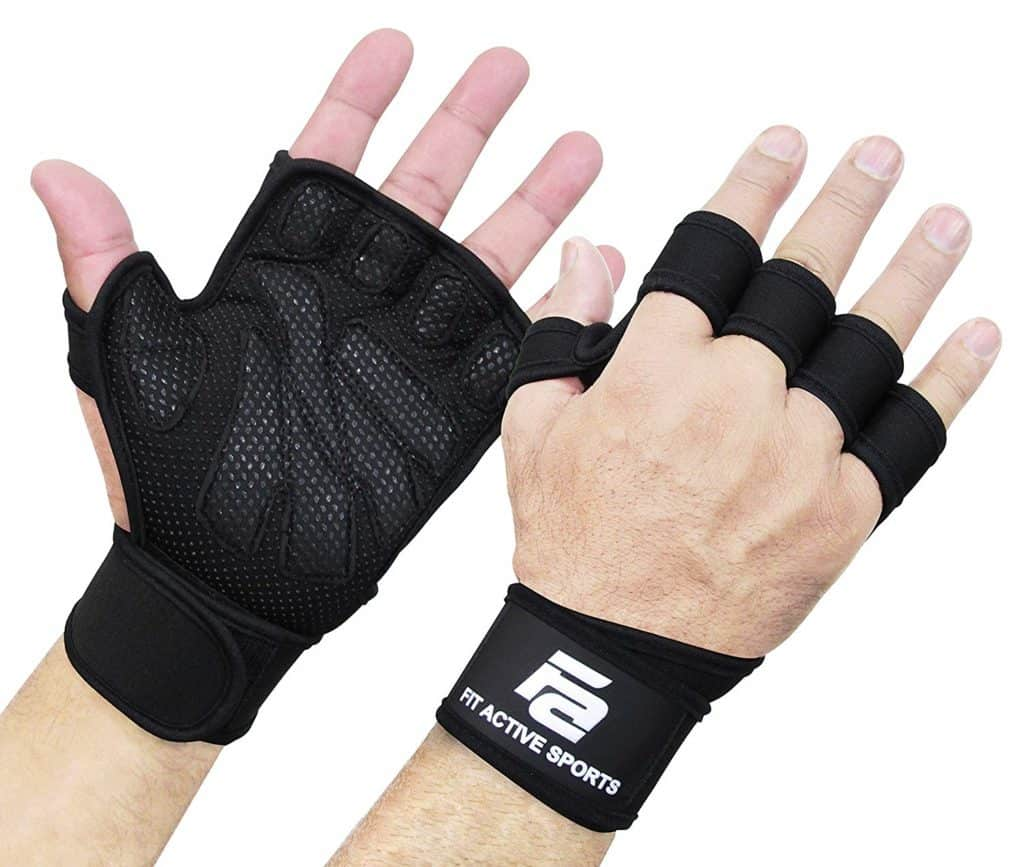 A pair of black weightlifting gloves.