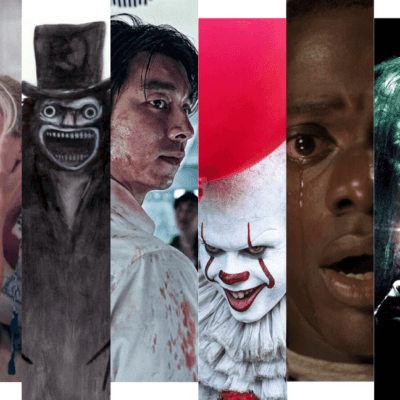 A collage of stills depicting characters from eight different horror movies.