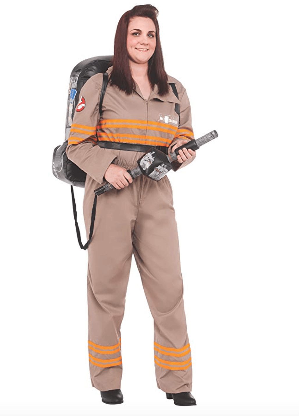 A woman wearing a brown overalls with orange stripes on its chest and legs, carrying a proton pack.