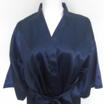 A dark blue silk robe.
