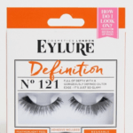 A pair of dramatic black false eyelashes.