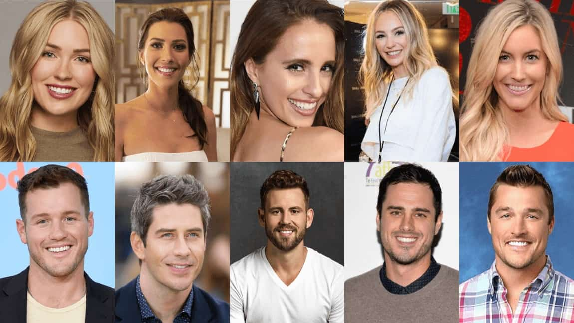 "[Image description: A collage of leads from ""The Bachelor"".] Collage property of The Tempest."