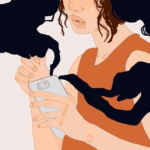 Design Credit to Deema Alawa / Property of The Tempest, Inc. [Image description: An illustration of a brown-haired woman using her phone with black energy emanating from it.]