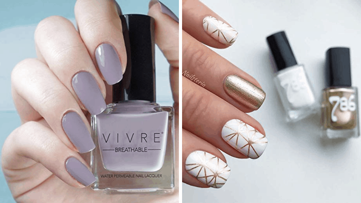[Image description: Hands with painted nails, holding nail polish bottles] Via 786 Cosmetics, Vivre Cosmetics