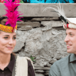 Britain's Prince William and Catherine, Duchess of Cambridge wearing traditional Kalaashi hats and enjoying the kalaashi dance together.