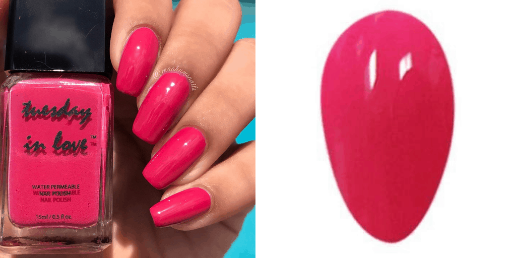 [Image description: Swatch and bottle of Tuesday in Love nail polish.] via Tuesday in Love