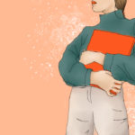 Attribution: Design Credit to Kealani Finegan / Property of The Tempest, Inc. [Image Description: A woman wearing a green jumper hugging a red book to her chest]