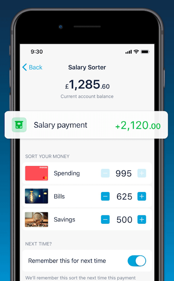 A screenshot of Monzo's interface, showing money being divided into categories.