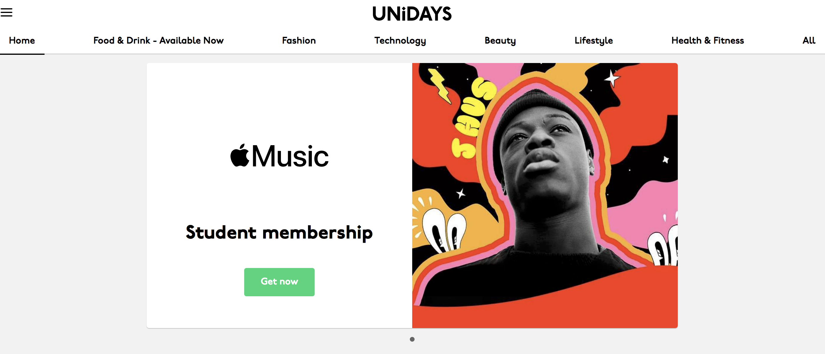 UNiDAYS' homepage featuring all the categories it covers student discounts on.