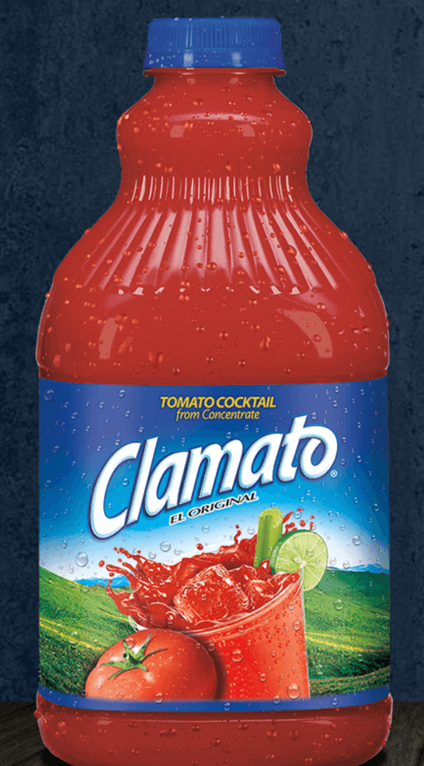A blue-capped plastic bottle of Clamato juice.