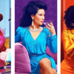 A collage showing three different woman across three different time periods from the show, Why Women Kill.
