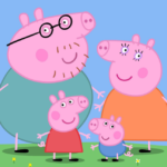 Four cartoon pigs, Peppa, George, Daddy, and Mummy Pig.