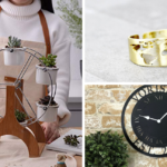 [Image description: Woman with ferris wheel of plants, ring, and clock.] via Amazon, Etsy