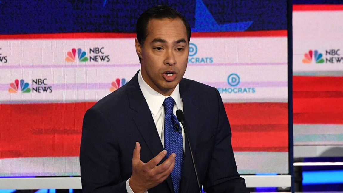 [Image description: U.S. Presidential Candidate Julian Castro speaking at the first Democratic debate] via Getty Images