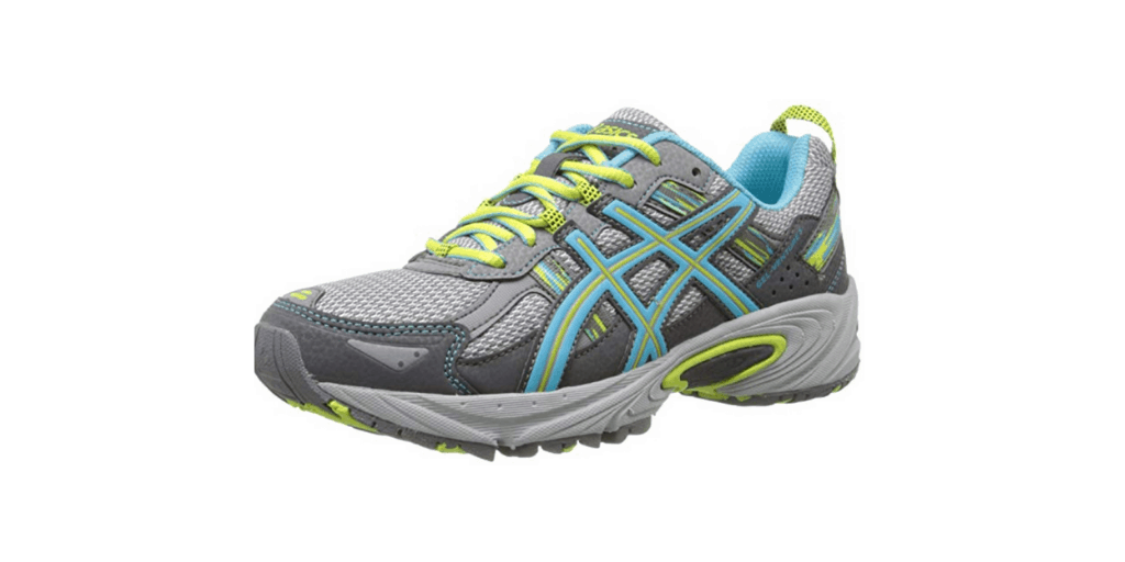 Gray, white, and blue colored jogging shoes.