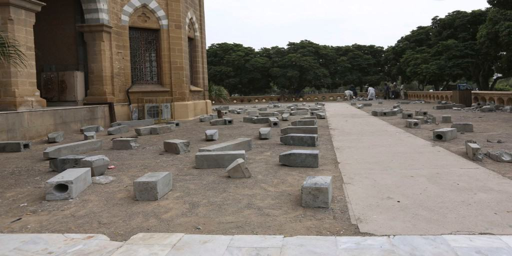The Killing Fields Of Karachi by Adeela Suleman after it was vandalized by officials. The 444 tombstones were symbolic of the number of people murdered in the extrajudicial killings.