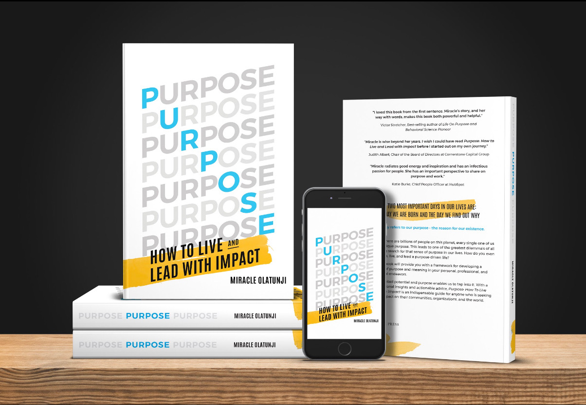Photo of Miracle Olatunji's book Purpose: How To Live and Lead With Impact.
