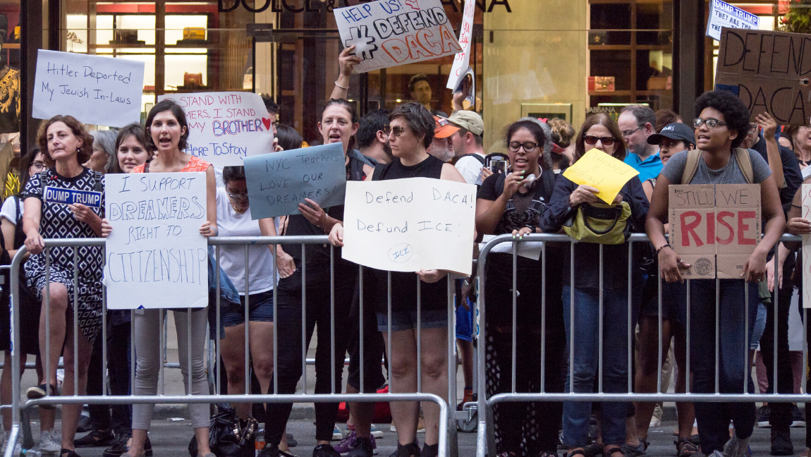 [Image description: Protesters at Trump Tower following rescission of DACA.] via Wikipedia Commons