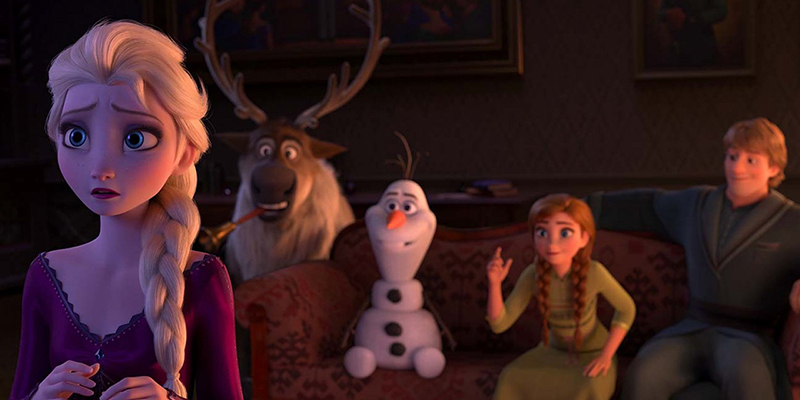 A cast of cartoon characters showing two women, a man, a moose, and a snowman.