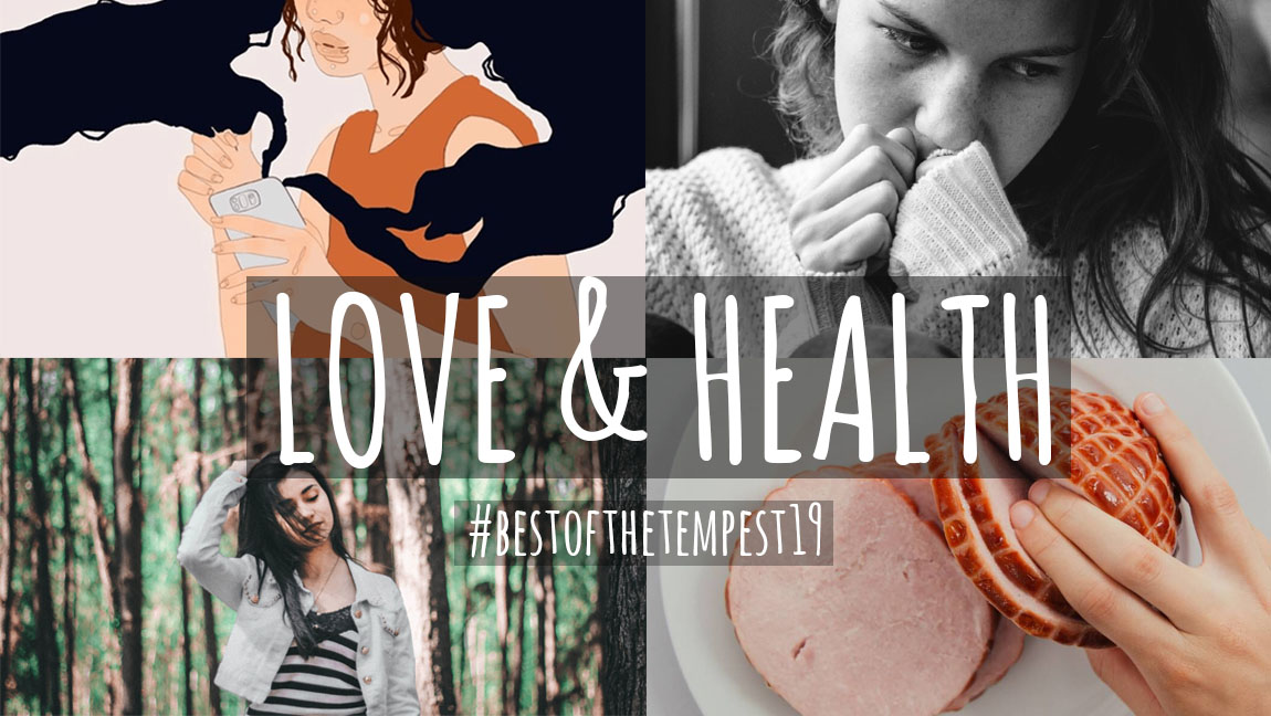 [Image description: A collage of four different pictures, one depicting an illustration of a girl with a phone, one a black and white image of a girl, one of a girl in a forest, and one of a hand within some meat] Via Unsplash and TheTempest