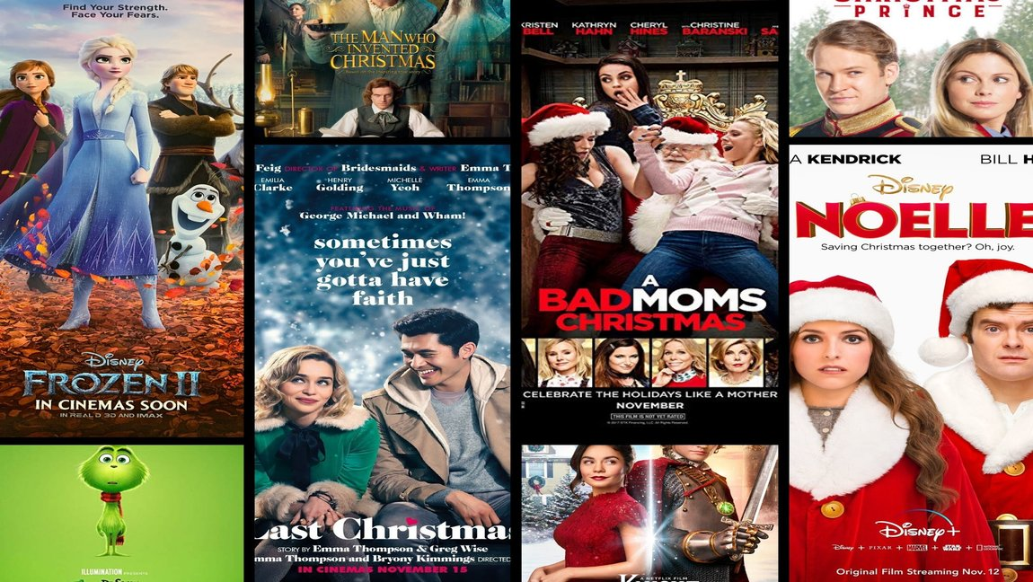 Collage showing the latest Christmas movies