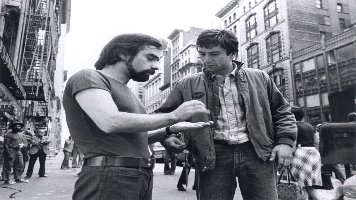 Martin Scorsese and Robert De Niro on the set of Taxi Driver. Image via Sikelia Productions.