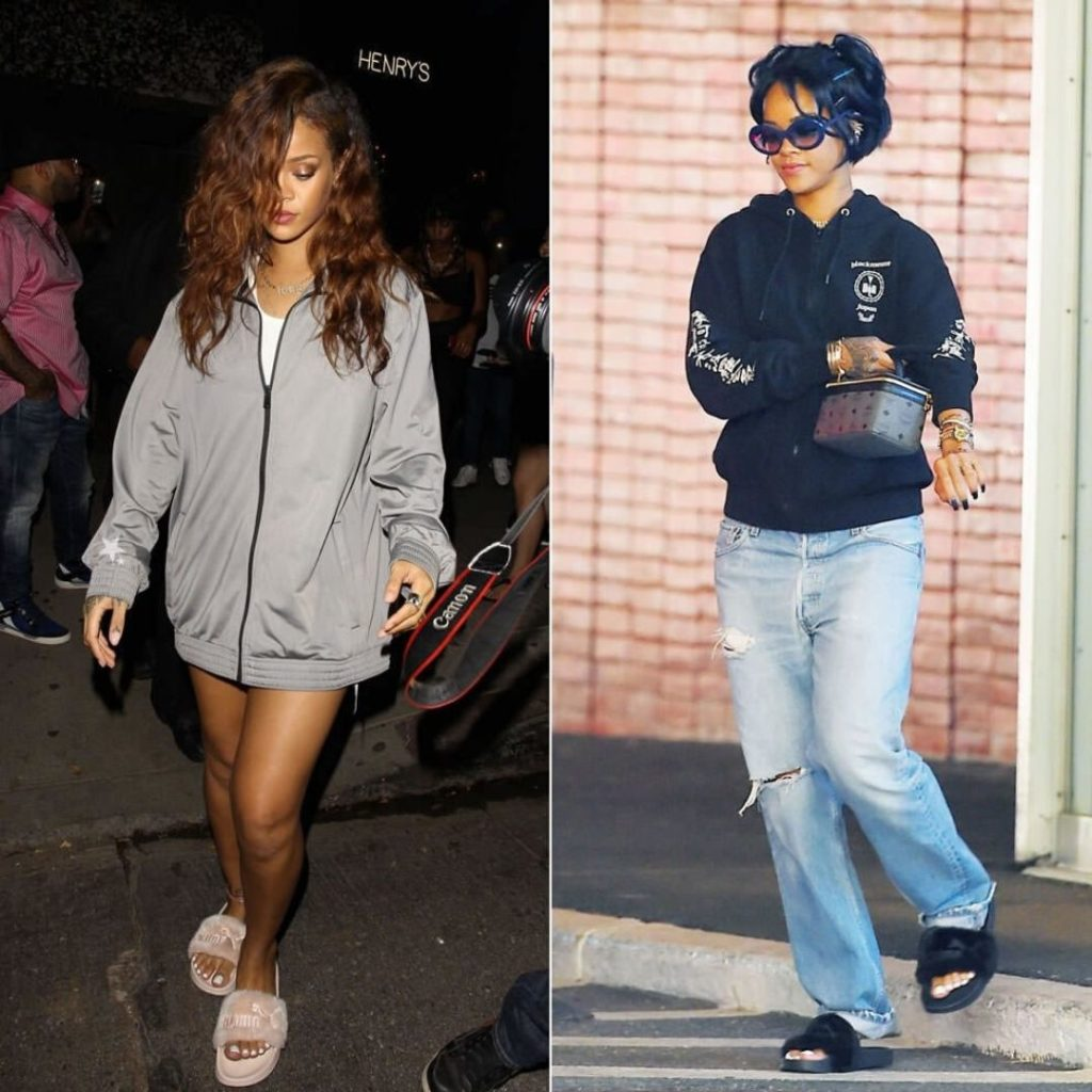 Rihanna sports two different versions of comfy sliders at airports