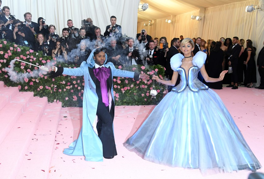 Law Roach and Zendaya walk the pink carpet at the 2019 Met Gala.