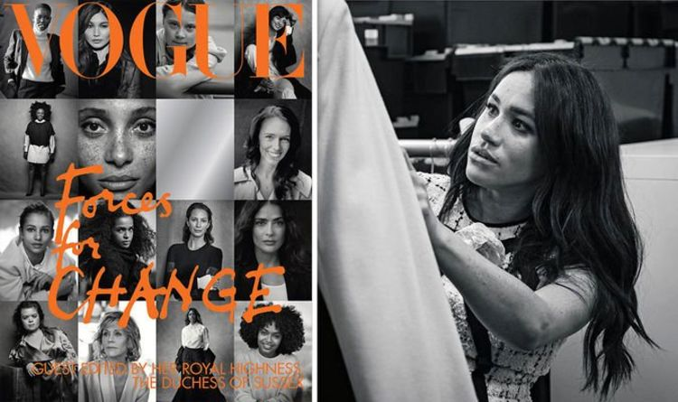 The cover of the September 2019 issue of British Vogue alongside a black and white photo of Meghan Markle.