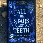 "Author Adalyn Grace's debut novel, ""All the Stars and Teeth,"" with a blue cover, resting on a beach surrounded by seashells."