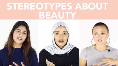 Video thumbnail with text stereotypes about beauty with a collage of 3 women side by side