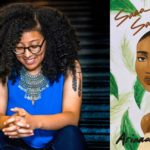 "[Image description: a collage of Ariana Brown wearing a blue top and smiling, looking down, and the cover art for her book ""SANA SANA"", with a girl's face amidst green leaves] Via Ariana Brown"