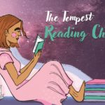 """A girl in a pink dress rests against a stack of books as she reads another. The words, """"The Tempest Reading Challenge 2020"""" is written.]"""