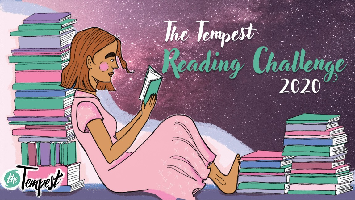 "A girl in a pink dress rests against a stack of books as she reads another. The words, ""The Tempest Reading Challenge 2020"" is written.]"