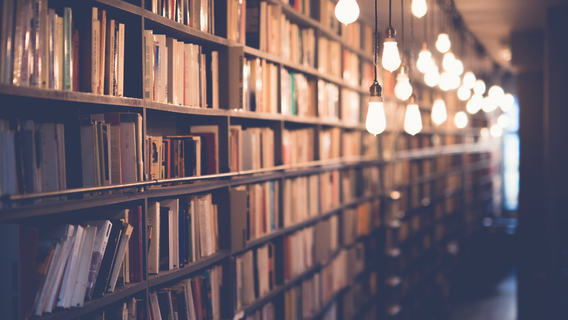 [Image description: Library with books and dangling lights] Via Janko Ferlič on Unsplash.