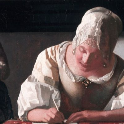 [Image description: painting of a young woman with bonnet writing a with a quill. ] 'Lady Writing a Letter with her Maid' by Johannes Vermeer, c. 1670 (via National Gallery of Ireland).